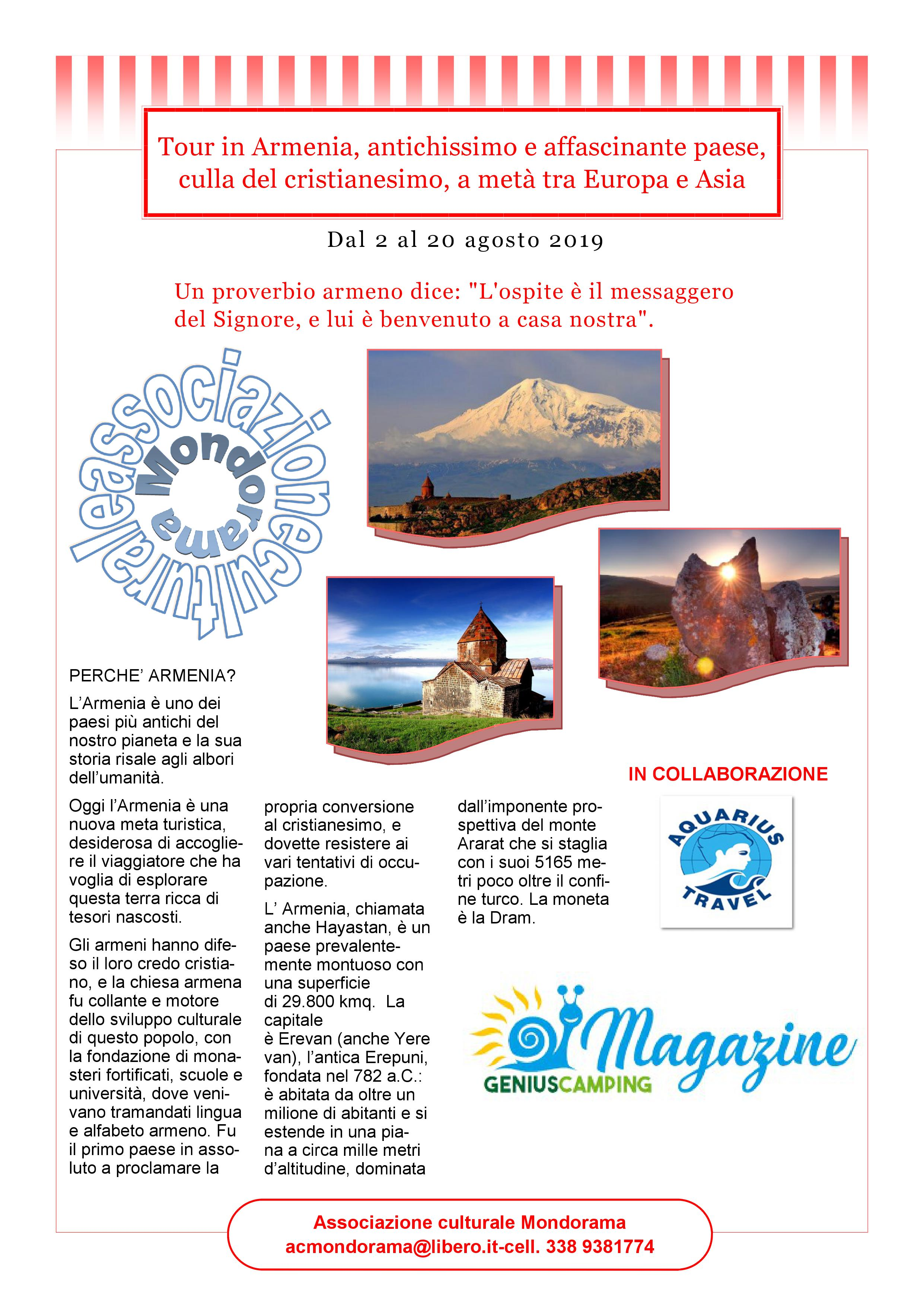 Tour dell'Armenia in camper agosto 2019
