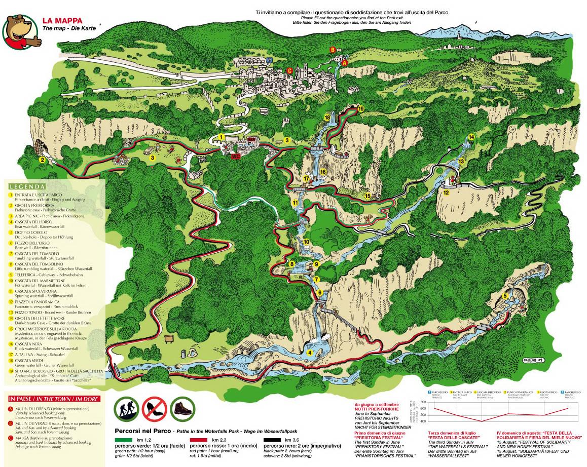 Parco delle cascate di Molina in Valpolicella - Percorsi